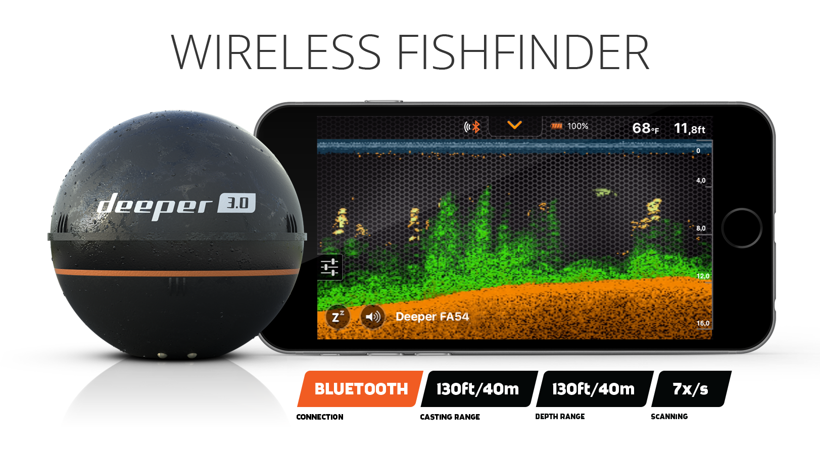 Deeper Fishfinder Smart Sonar Pro Wifi Technology For